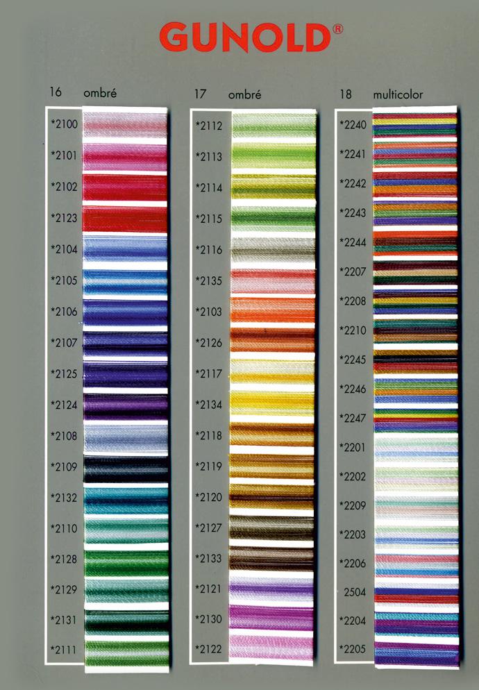 Gunold Sulky tikkimisniidid värvikaart